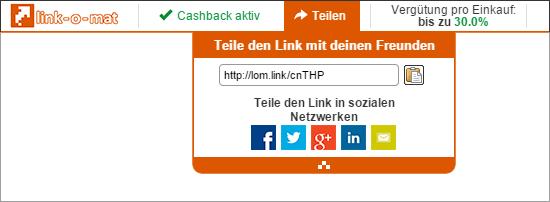 link-o-mat Nutzer können persönliche Empfehlungslinks an ihre Freunde versenden.