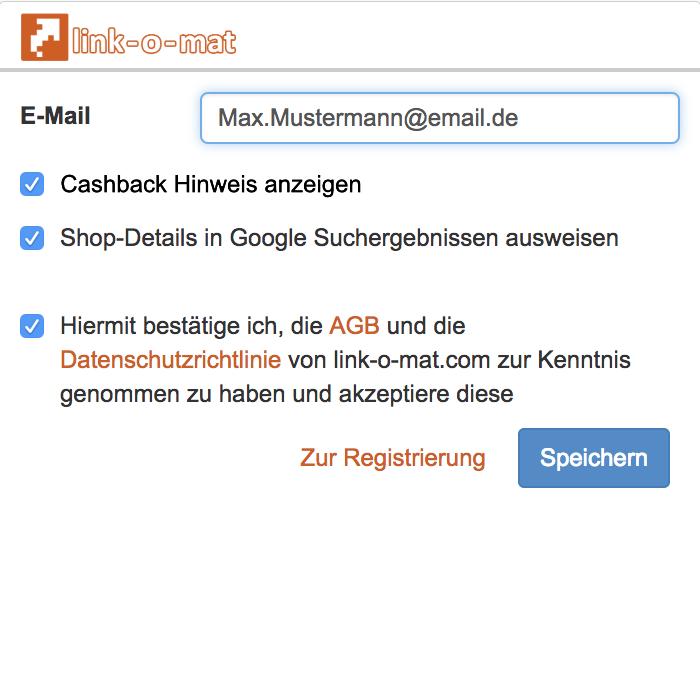 Cashback Browser Add-on Erklärung mit eingegebener Email