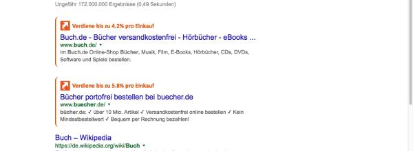 Cashback in den Google Suchergebnissen - Suchen, klicken, Geld zurück erhalten.
